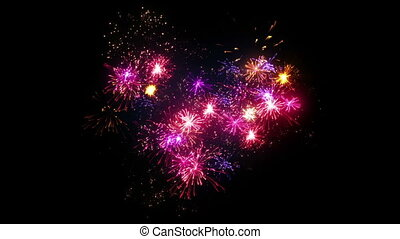heart shape fireworks display seamless loop animation