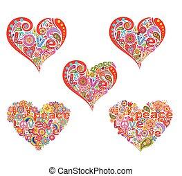 Heart shape for hippie design print
