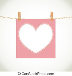 heart shape frame on rope background. vector