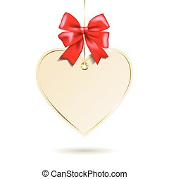 Heart shape frame with red bow hanging on white background