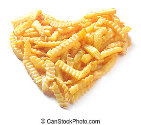 Heart shape formed from crinkle cut potato chips isolated on white in a conceptual image of love or romance