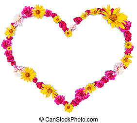 Heart shape from flowers