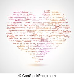 Heart shape from letters - typographic composition. The best list of words, that describes LOVE