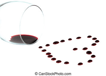 Heart shape from red wine drops