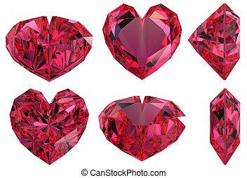 Heart shape gem isolated