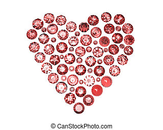 Heart shape gemstone. Collections of jewelry gems