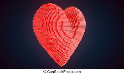 Heart shape generated from voxels - Love, Valentines 4K...