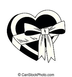 Heart shape giftbox pop art in black and white