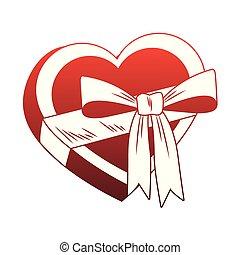 Heart shape giftbox pop art red lines