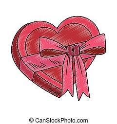Heart shape giftbox pop art scribble