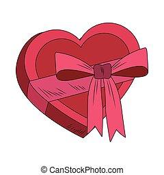 Heart shape giftbox pop art