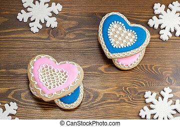 Heart shape gingerbread cookies