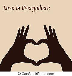 Heart shape hand gesture retro post