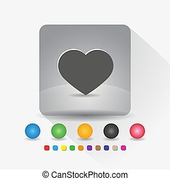 Heart shape icon. Sign symbol app in gray square shape round corner with long shadow vector illustration and color template.