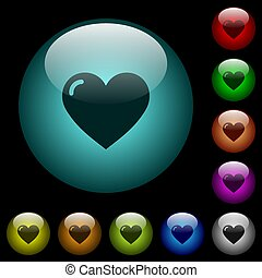 Heart shape icons in color illuminated glass buttons