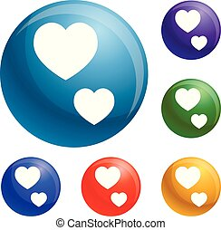 Heart shape icons set vector
