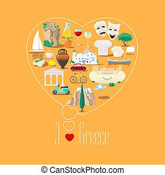 Heart shape illustration with I love Greece sign