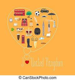 Heart shape illustration with I love United Kingdom quote