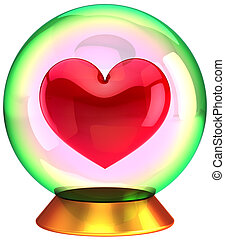 Heart shape in crystal globe - Crystal globe with a red...