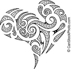 Heart shape in Maori style tattoo