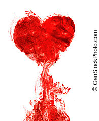Heart shape ink of blood