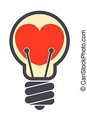 Heart shape inside light bulb isolated on white background
