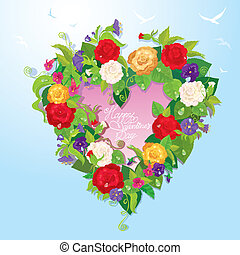 Heart shape is made of beautiful flowers - roses, pansies, bellflowers on blue sky background. Valentines Day card.