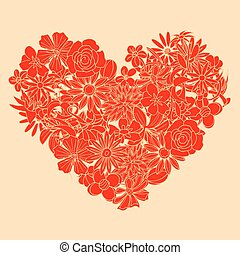 Heart shape is made of hand drawn beautiful flowers, isolated on white background.