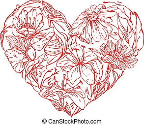 Heart shape is made of hand drawn beautiful flowers, isolated on
