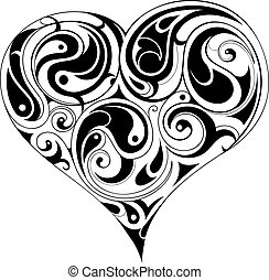Heart shape isolated on white - Decorative heart shape...