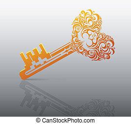 Heart shape key - Key with heart shape. St. Valentines...