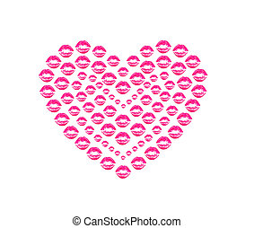 heart shape kissing lips