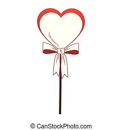 Heart shape lollipop pop art red lines