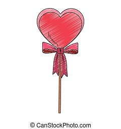 Heart shape lollipop pop art scribble