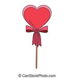Heart shape lollipop pop art