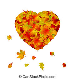 Heart shape made from autumn leaf. EPS 8