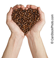 Heart shape made from coffee beans in hands, isolated on white background