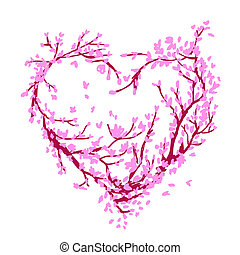 Heart shape made from sakura tree for your design