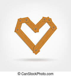 Heart shape made from wooden boards for your design