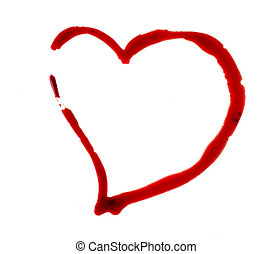 Heart shape made of blood on white