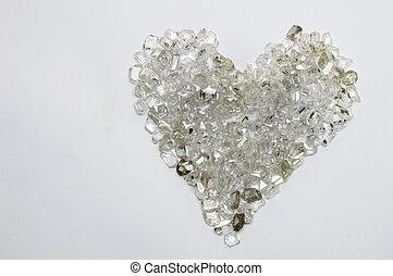 Heart shape made of diamonds