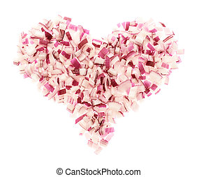 Heart shape made of red onion pieces isolated over white...