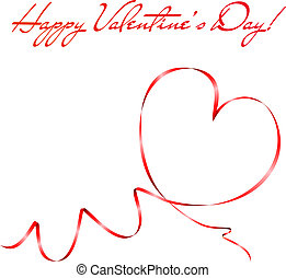 Heart shape made of red ribbon. Valentine's day greeting...
