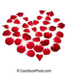 Heart Shape Made of Red Rose Petals - A heart shape made of...