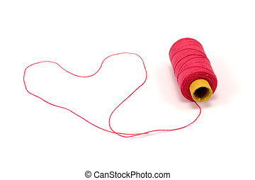 Heart shape made of red thread - Heart shape made of red...
