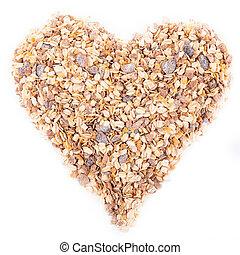 heart shape muesli isolated