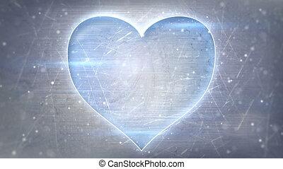 heart shape neon glowing on metal loop background