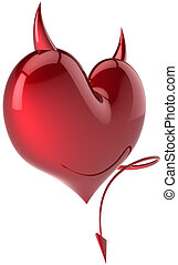 Heart shape of Devil colored red
