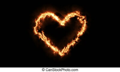 Heart shape of fire. Valentine's Day.