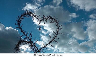 Heart Shape of plant and clouds